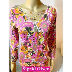 Sigrid Olsen V Neck W/Beads Floral Knit Top Sz S